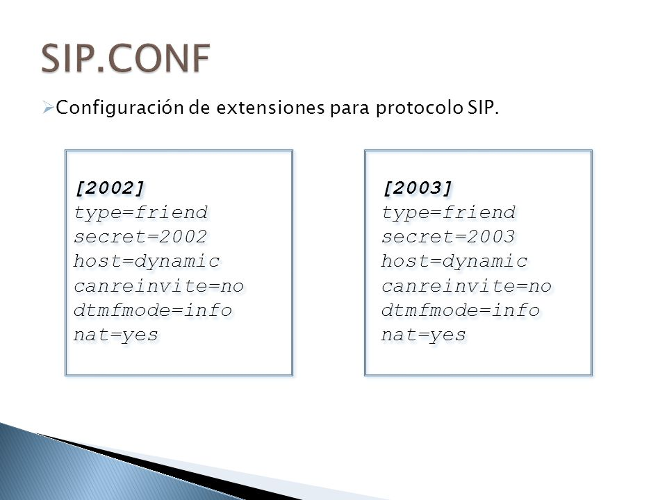 SIP.CONF [2002] type=friend secret=2002 host=dynamic canreinvite=no